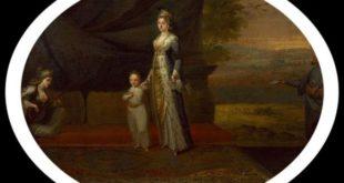 Mary Wortley Montagu in traditionell türkischer Tracht und ihr Sohn Edward Edward Wortle in Konstantinopel zusammen mit ihren Bediensteten. Ein Gemälde von Jean-Baptiste van Mour aus dem Jahre 1717.